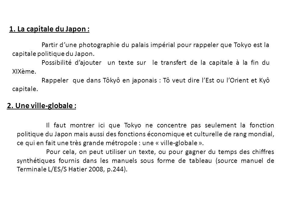 1. La capitale du Japon : Partir dune photographie du palais impérial pour rappeler que Tokyo est la capitale politique du Japon. Possibilité dajouter