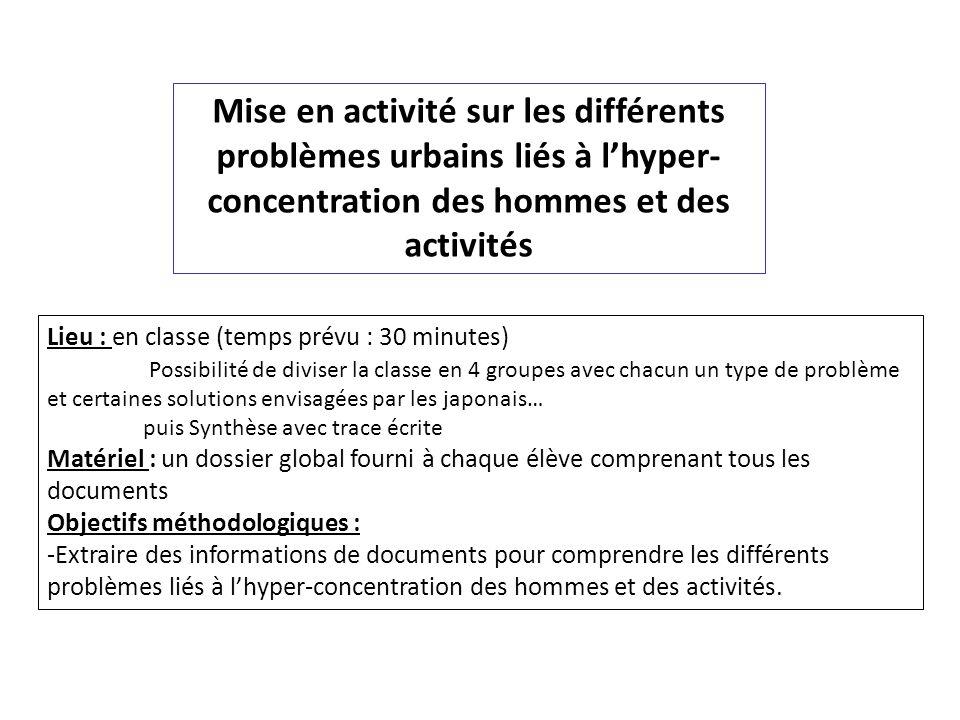 Mise en activité sur les différents problèmes urbains liés à lhyper- concentration des hommes et des activités Lieu : en classe (temps prévu : 30 minu