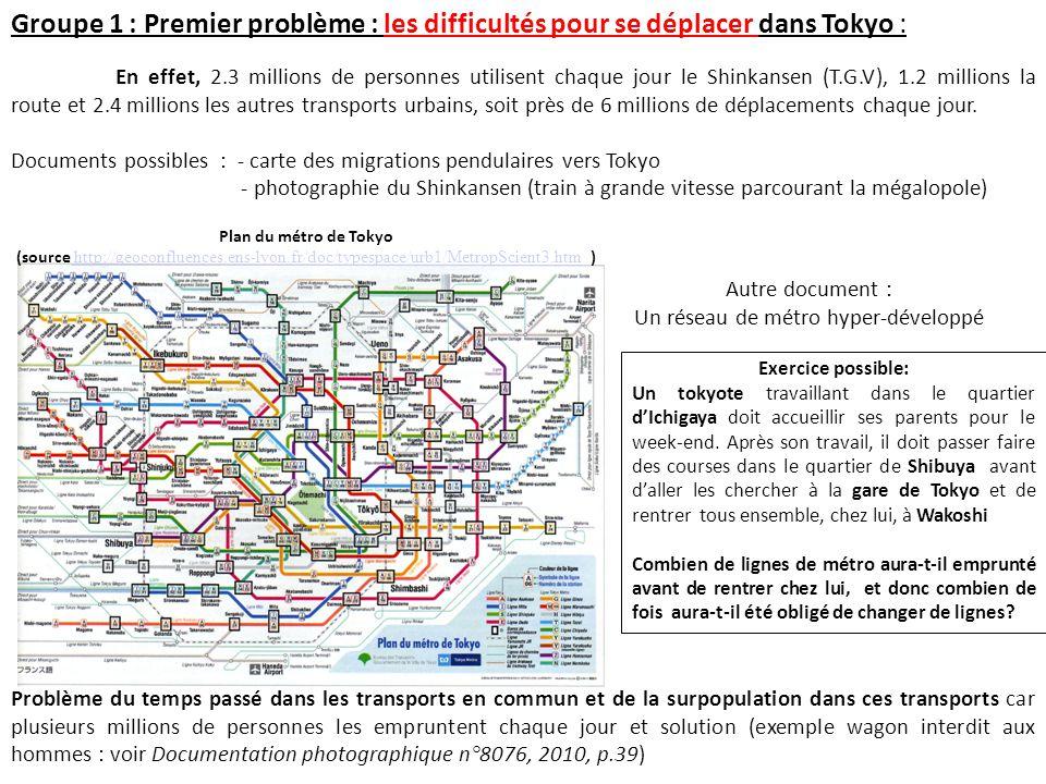 Groupe 1 : Premier problème : les difficultés pour se déplacer dans Tokyo : Autre document : Un réseau de métro hyper-développé En effet, 2.3 millions