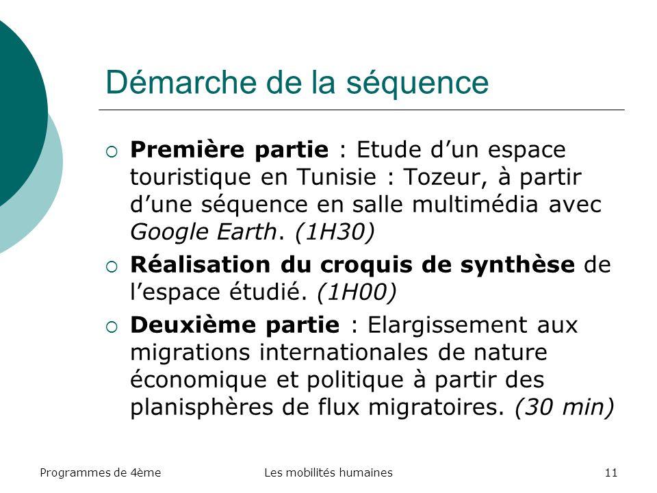Programmes de 4èmeLes mobilités humaines11 Démarche de la séquence Première partie : Etude dun espace touristique en Tunisie : Tozeur, à partir dune s