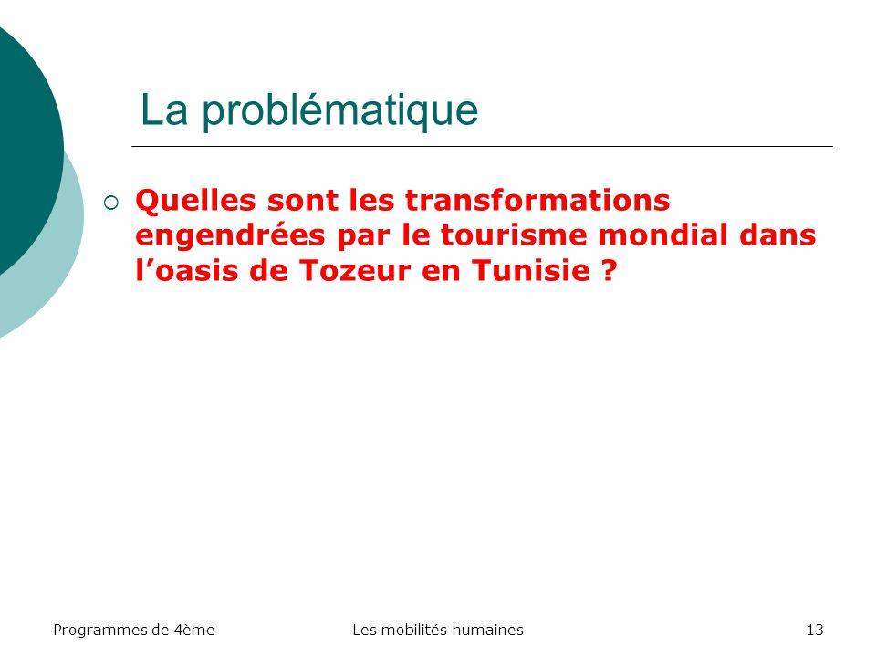 Programmes de 4èmeLes mobilités humaines13 La problématique Quelles sont les transformations engendrées par le tourisme mondial dans loasis de Tozeur