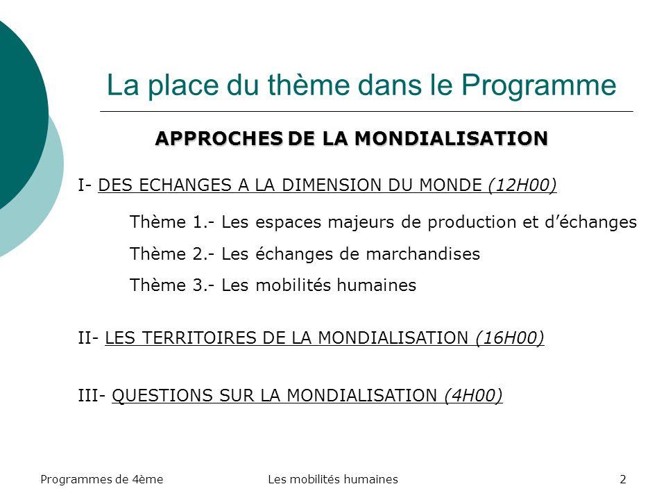 Programmes de 4èmeLes mobilités humaines2 La place du thème dans le Programme APPROCHES DE LA MONDIALISATION I- DES ECHANGES A LA DIMENSION DU MONDE (