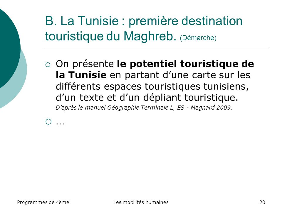 Programmes de 4èmeLes mobilités humaines20 B. La Tunisie : première destination touristique du Maghreb. (Démarche) On présente le potentiel touristiqu