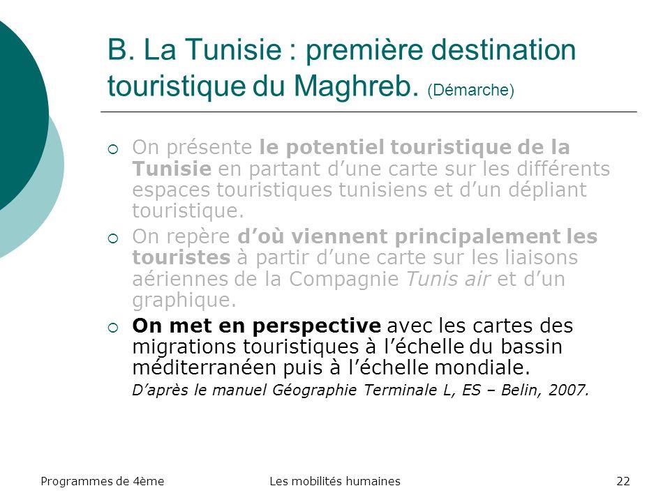 Programmes de 4èmeLes mobilités humaines22 B. La Tunisie : première destination touristique du Maghreb. (Démarche) On présente le potentiel touristiqu