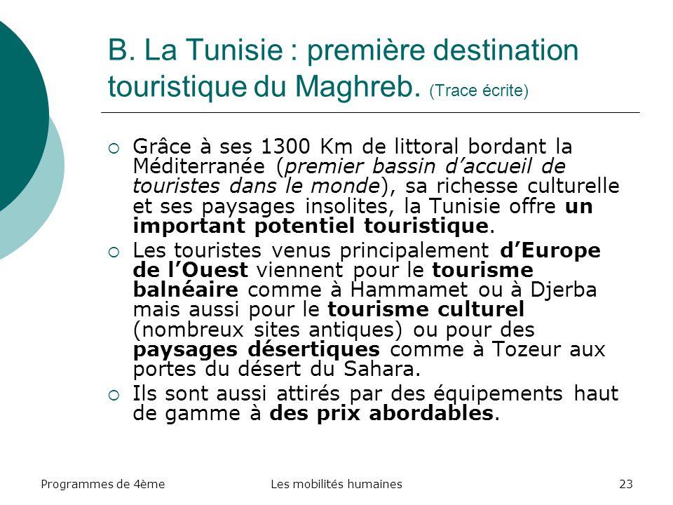 Programmes de 4èmeLes mobilités humaines23 B. La Tunisie : première destination touristique du Maghreb. (Trace écrite) Grâce à ses 1300 Km de littoral