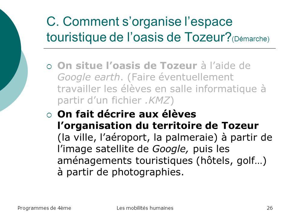 Programmes de 4èmeLes mobilités humaines26 C. Comment sorganise lespace touristique de loasis de Tozeur? (Démarche) On situe loasis de Tozeur à laide