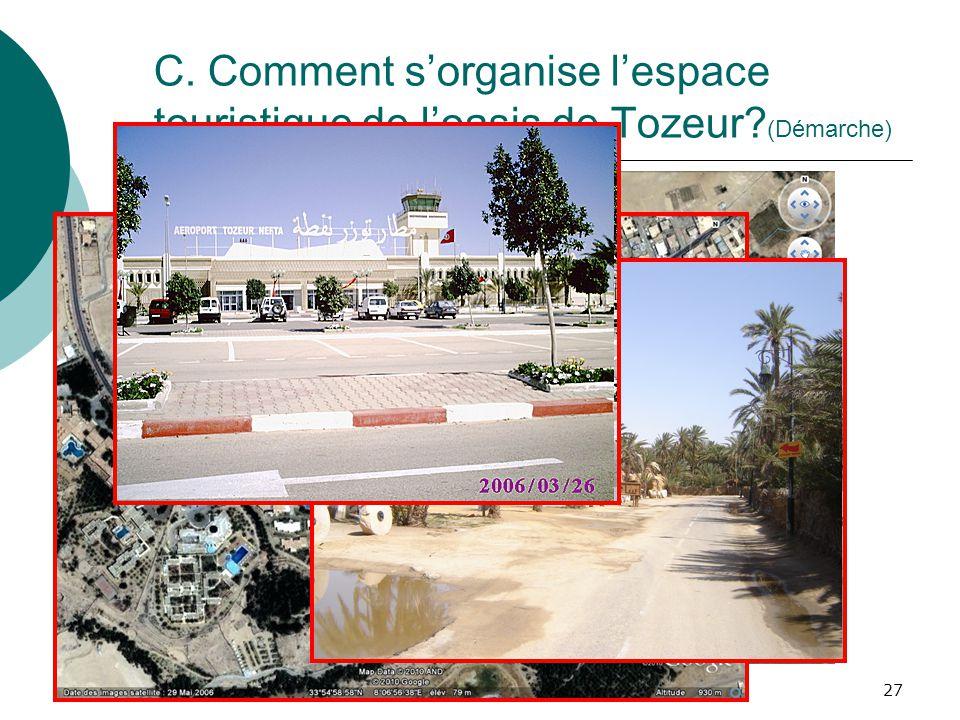 Programmes de 4èmeLes mobilités humaines27 C. Comment sorganise lespace touristique de loasis de Tozeur? (Démarche)