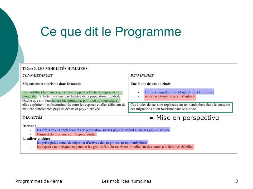 Programmes de 4èmeLes mobilités humaines24 C.