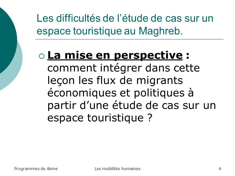 Programmes de 4èmeLes mobilités humaines4 Les difficultés de létude de cas sur un espace touristique au Maghreb. La mise en perspective : comment inté