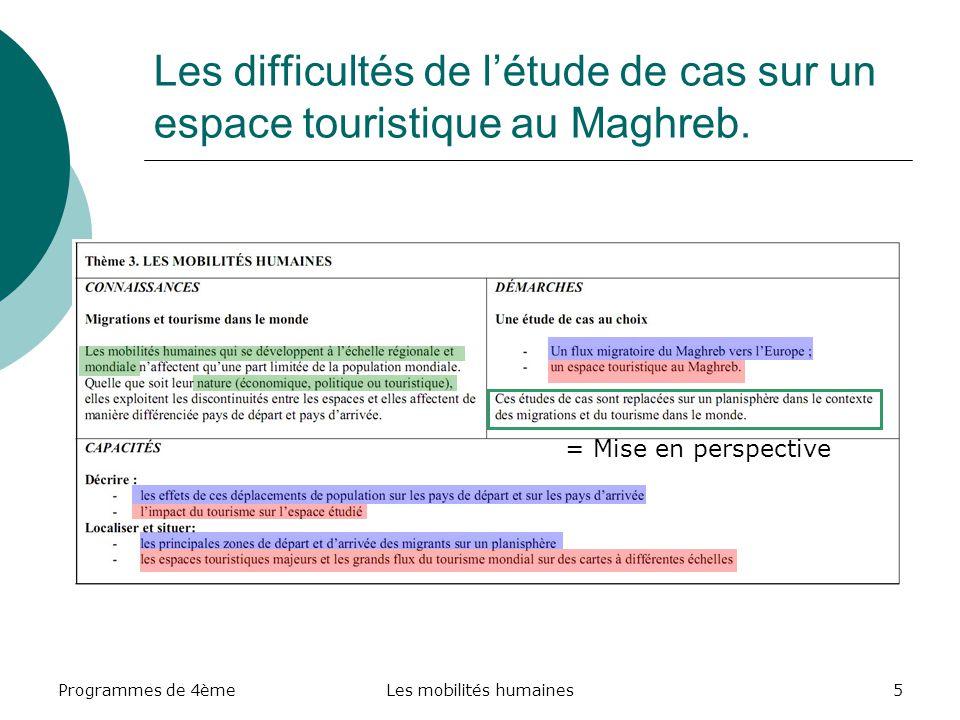 Programmes de 4èmeLes mobilités humaines5 Les difficultés de létude de cas sur un espace touristique au Maghreb. = Mise en perspective
