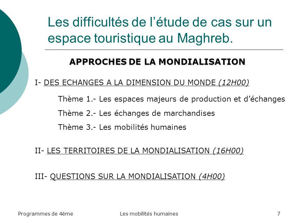 Programmes de 4èmeLes mobilités humaines7 Les difficultés de létude de cas sur un espace touristique au Maghreb. APPROCHES DE LA MONDIALISATION I- DES