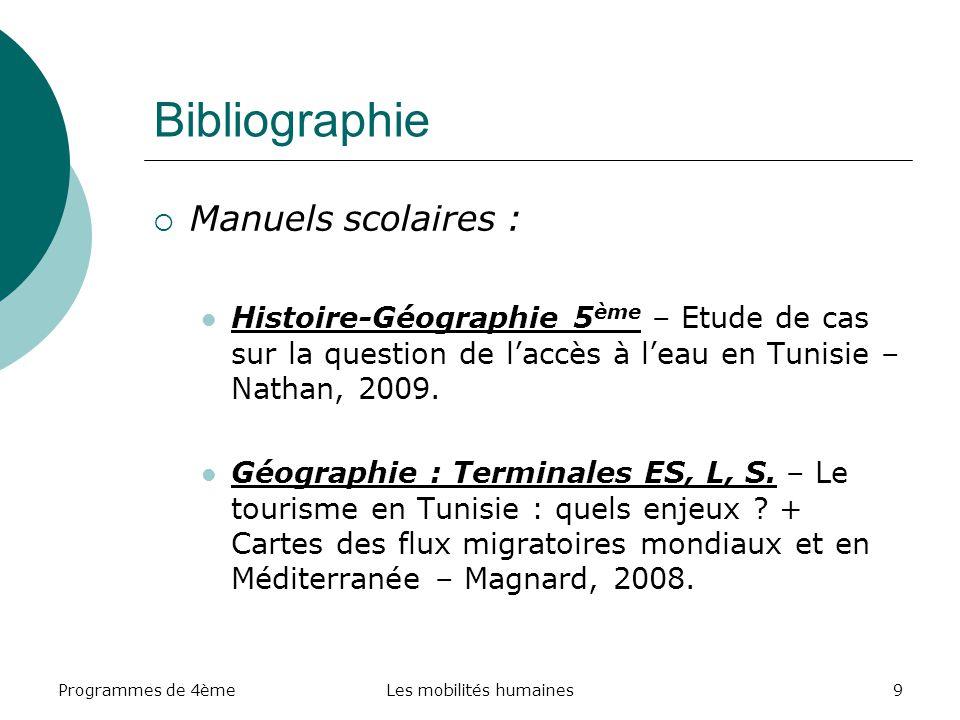Programmes de 4èmeLes mobilités humaines9 Bibliographie Manuels scolaires : Histoire-Géographie 5 ème – Etude de cas sur la question de laccès à leau