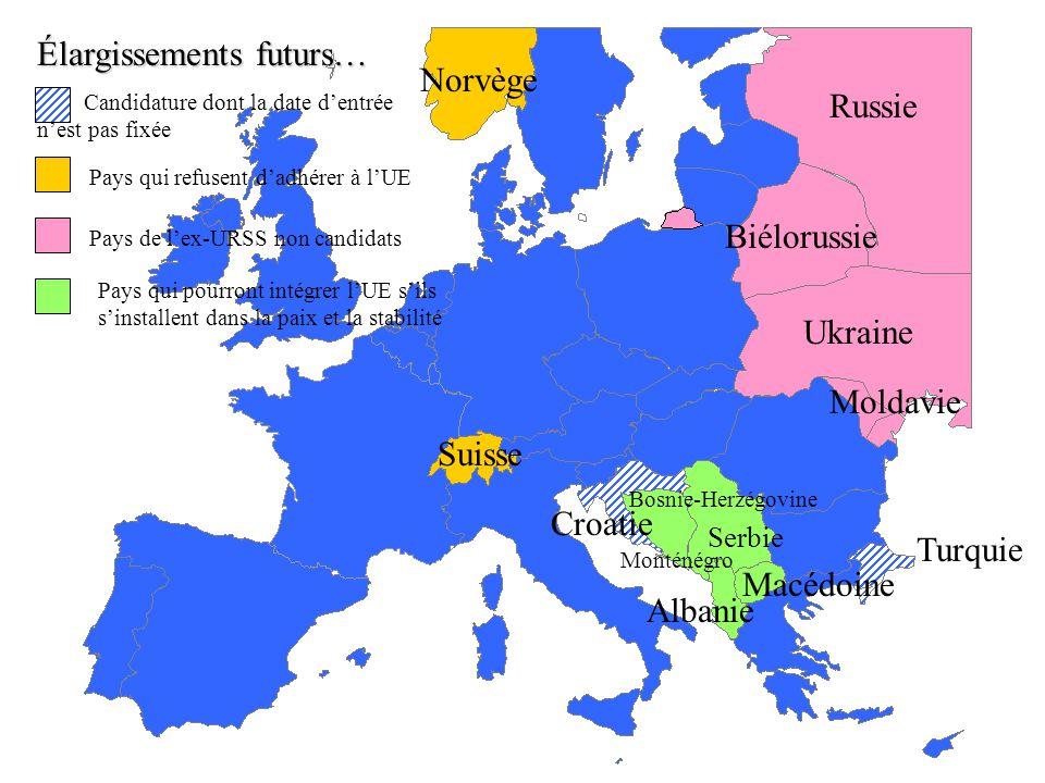 des 27 (2007) des 9 (1973) Europe des 6 (1957) des 10 (1981) des 12 (1986) des 15 (1995) des 25 (2004) Roumanie Bulgarie Les étapes de la construction