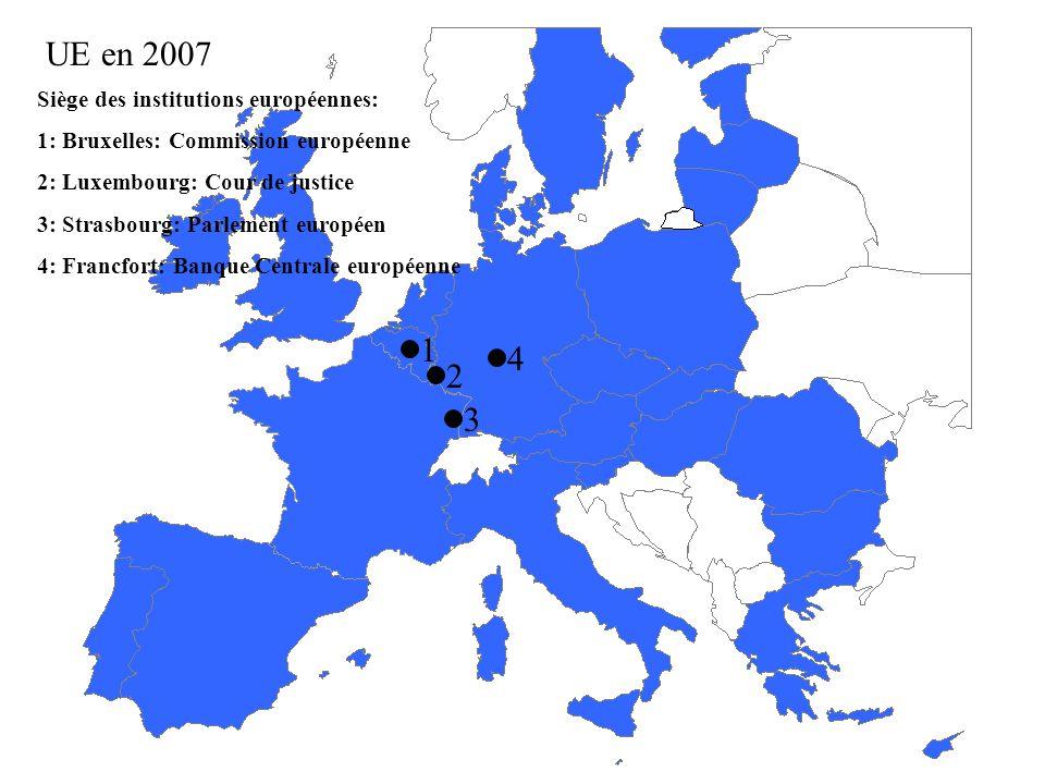 Élargissements futurs… Candidature dont la date dentrée nest pas fixée Croatie Turquie Pays qui refusent dadhérer à lUE Pays de lex-URSS non candidats