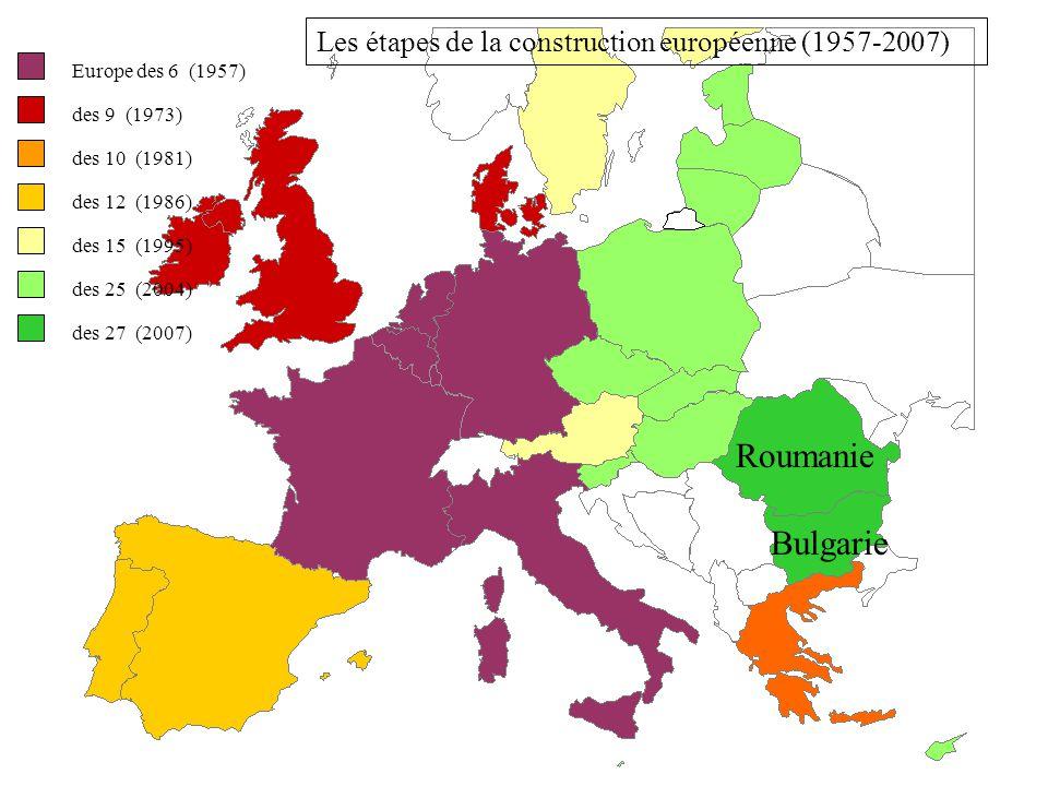 Europe des 6 (1957) des 9 (1973) des 10 (1981) des 12 (1986) des 15 (1995) des 25 (2004) Estonie Lettonie Lituanie Pologne Rép. Tchèque Slovaquie Hong