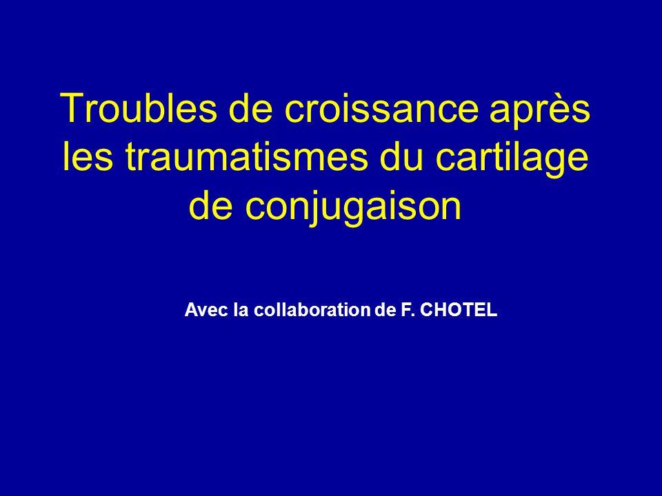Troubles de croissance après les traumatismes du cartilage de conjugaison Avec la collaboration de F. CHOTEL