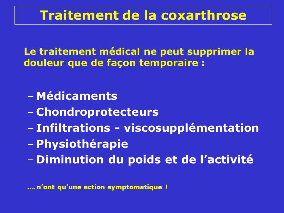Le traitement médical ne peut supprimer la douleur que de façon temporaire : –Médicaments –Chondroprotecteurs –Infiltrations - viscosupplémentation –Physiothérapie –Diminution du poids et de lactivité ….