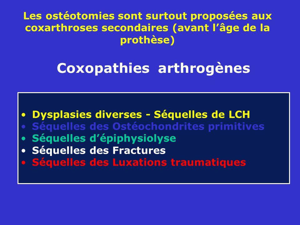 Les ostéotomies sont surtout proposées aux coxarthroses secondaires (avant lâge de la prothèse) Dysplasies diverses - Séquelles de LCH Séquelles des Ostéochondrites primitives Séquelles dépiphysiolyse Séquelles des Fractures Séquelles des Luxations traumatiques Coxopathies arthrogènes