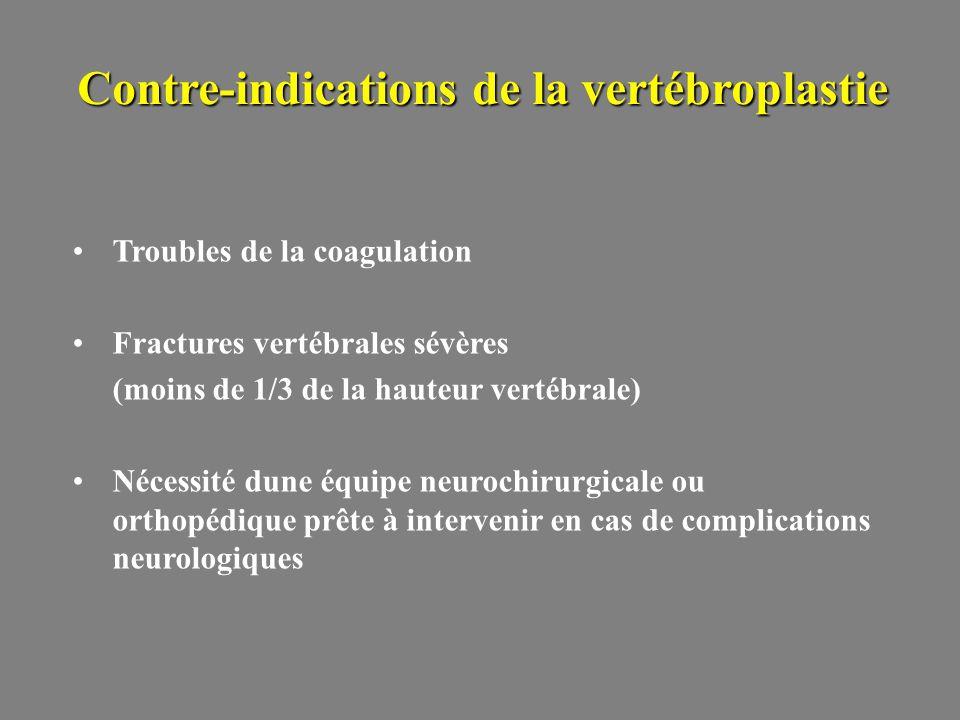 Troubles de la coagulation Fractures vertébrales sévères (moins de 1/3 de la hauteur vertébrale) Nécessité dune équipe neurochirurgicale ou orthopédique prête à intervenir en cas de complications neurologiques Contre-indications de la vertébroplastie