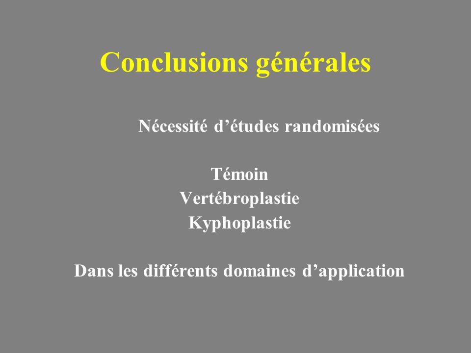 Conclusions générales Nécessité détudes randomisées Témoin Vertébroplastie Kyphoplastie Dans les différents domaines dapplication