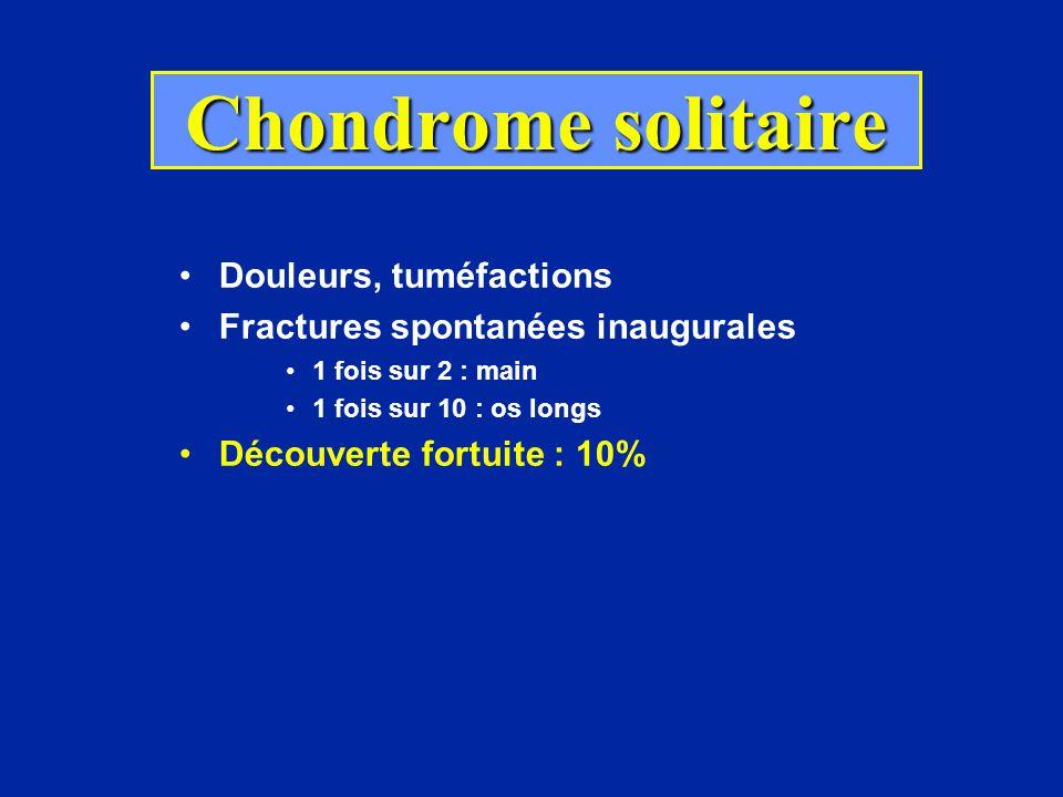 Radiologie des chondromes Métaphyse, métaphyso-diaphyse Géode claire, homogène, arrondie, nette