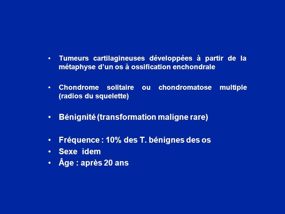 Chondrome solitaire Os longs Métaphyse ou métaphyso-diaphyse 50%: Fémur, humérus, radius, péroné, tibia Centraux : 85%, périostés : 15%