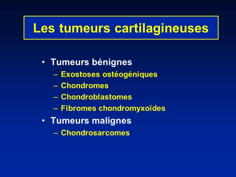 Les tumeurs cartilagineuses Tumeurs bénignes –Exostoses ostéogéniques –Chondromes –Chondroblastomes –Fibromes chondromyxoïdes Tumeurs malignes –Chondr