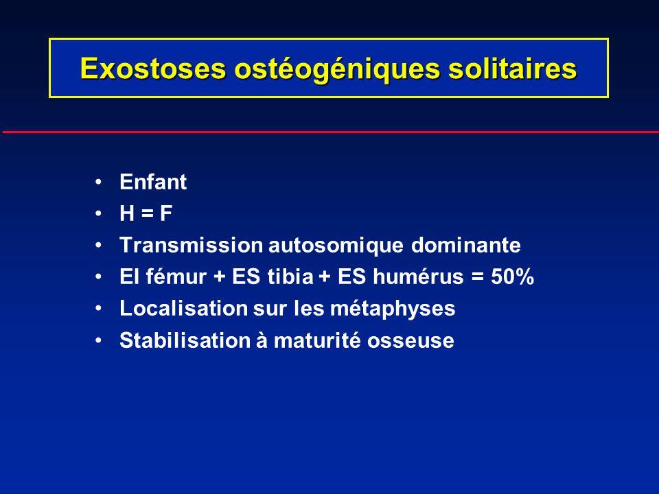 Enfant H = F Transmission autosomique dominante EI fémur + ES tibia + ES humérus = 50% Localisation sur les métaphyses Stabilisation à maturité osseus