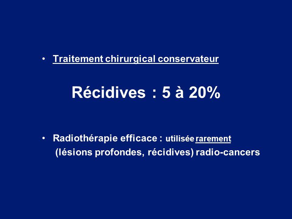 Traitement chirurgical conservateur Récidives : 5 à 20% Radiothérapie efficace : utilisée rarement (lésions profondes, récidives) radio-cancers