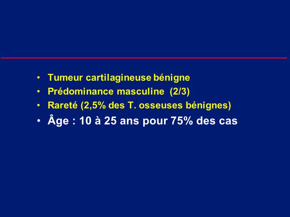 Tumeur cartilagineuse bénigne Prédominance masculine (2/3) Rareté (2,5% des T.