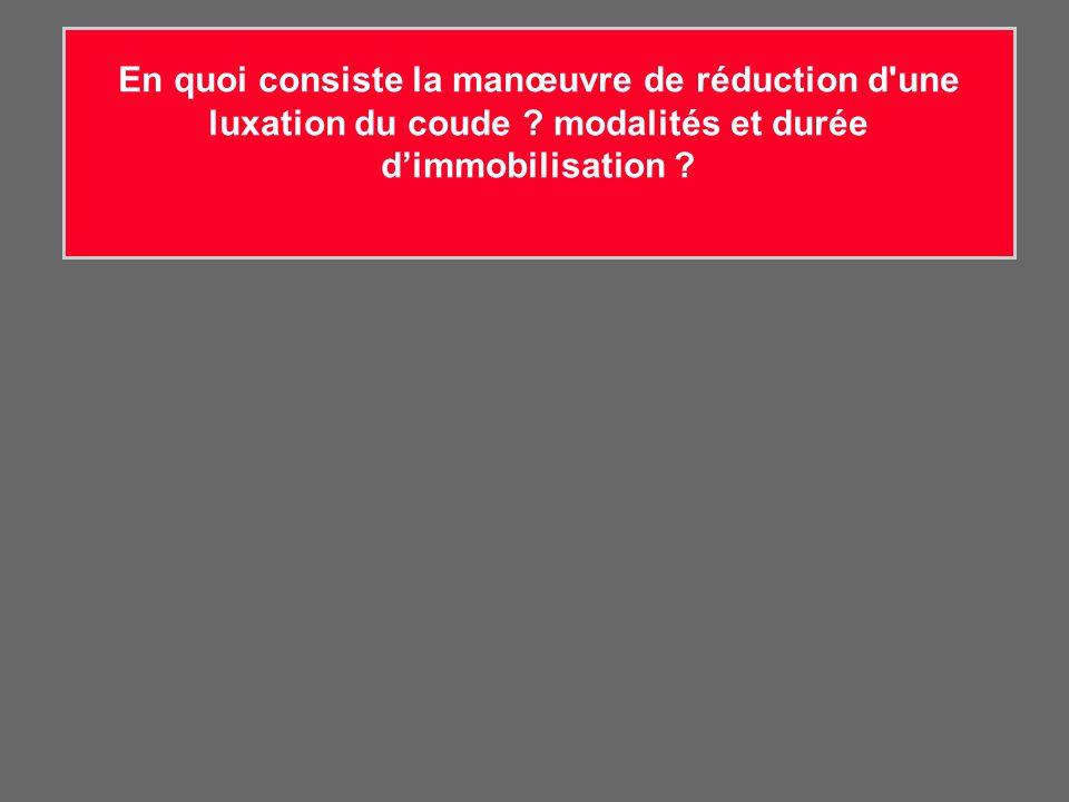 En quoi consiste la manœuvre de réduction d'une luxation du coude ? modalités et durée dimmobilisation ?