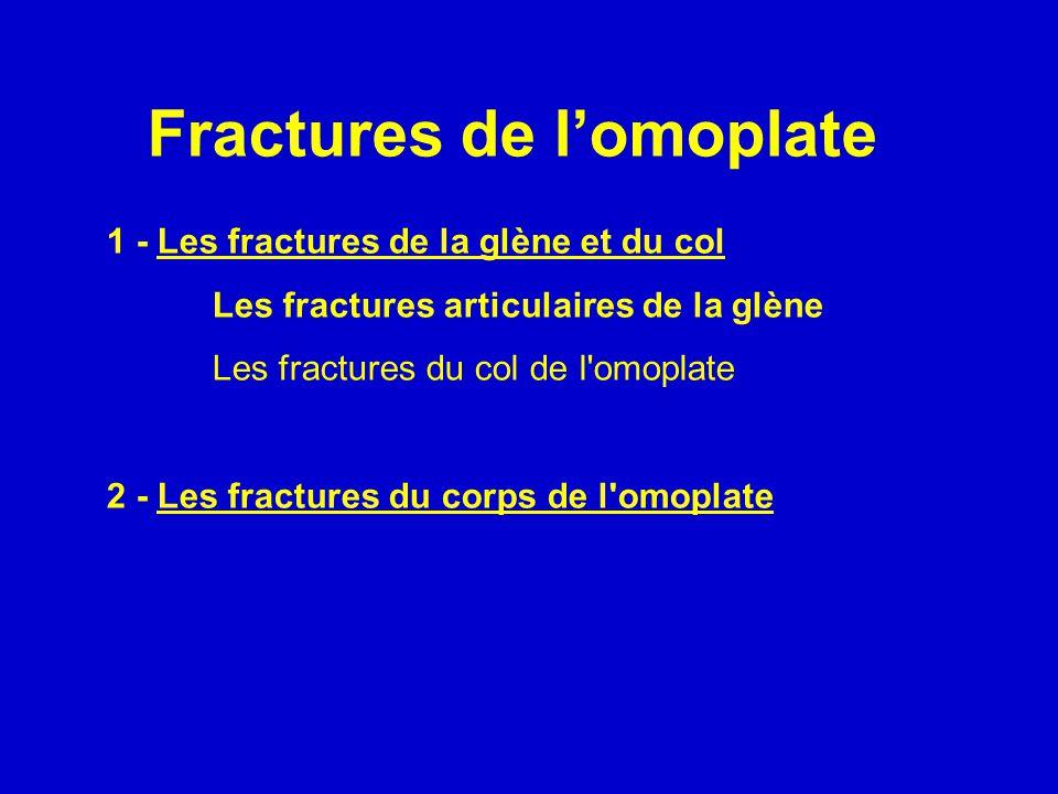 1 - Les fractures de la glène et du col Les fractures articulaires de la glène Les fractures du col de l'omoplate 2 - Les fractures du corps de l'omop