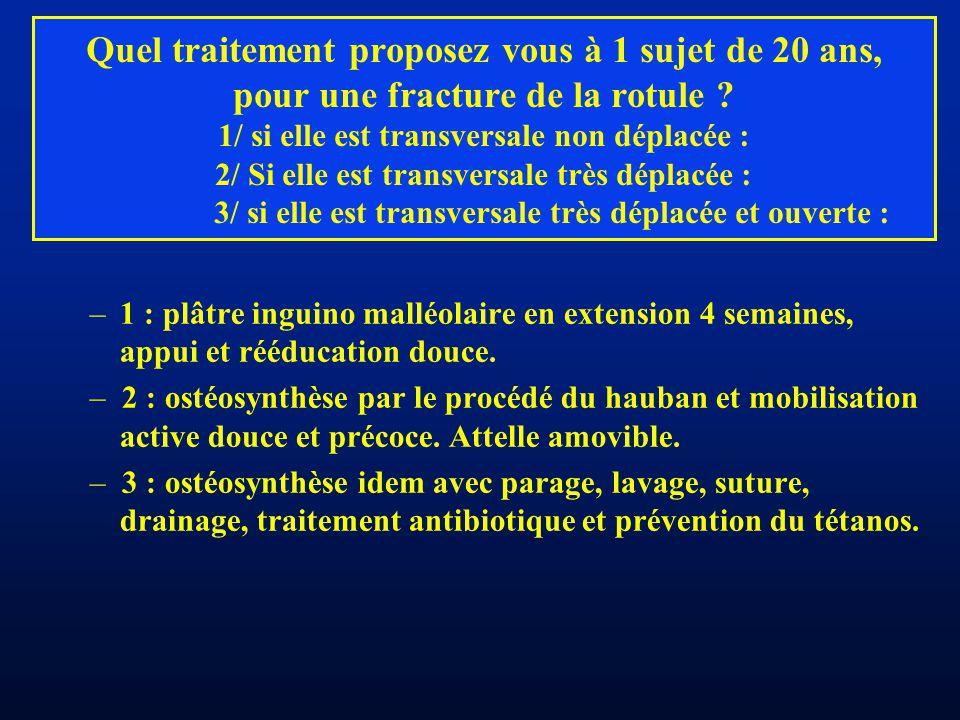 Quel traitement proposez vous à 1 sujet de 20 ans, pour une fracture de la rotule ? 1/ si elle est transversale non déplacée : 2/ Si elle est transver