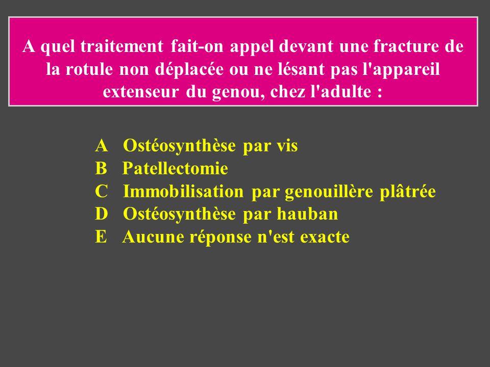 A quel traitement fait-on appel devant une fracture de la rotule non déplacée ou ne lésant pas l'appareil extenseur du genou, chez l'adulte : A Ostéos