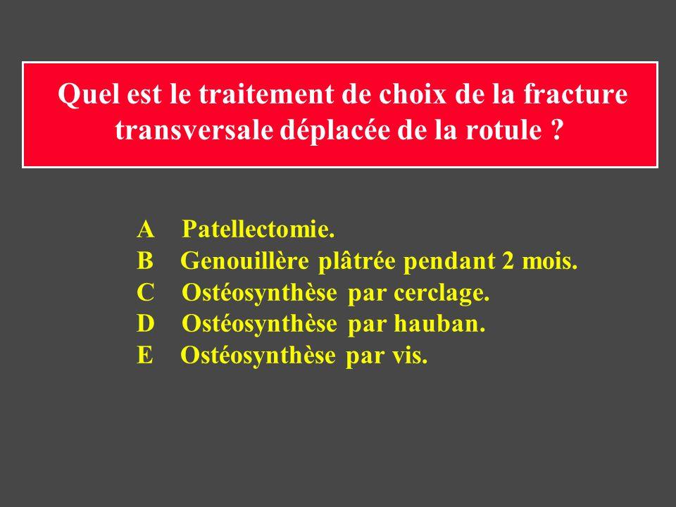 Quel est le traitement de choix de la fracture transversale déplacée de la rotule ? A Patellectomie. B Genouillère plâtrée pendant 2 mois. C Ostéosynt