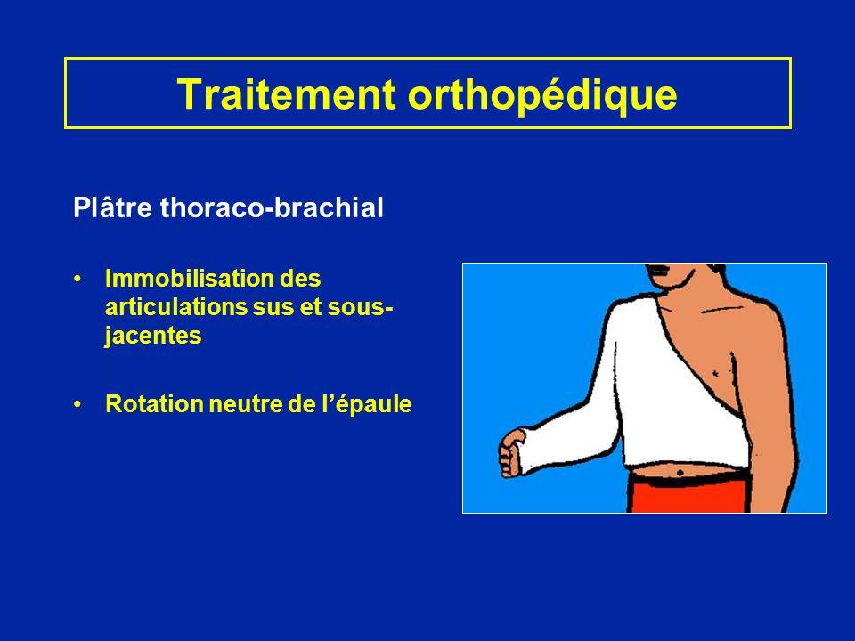 Traitement orthopédique Plâtre thoraco-brachial Immobilisation des articulations sus et sous- jacentes Rotation neutre de lépaule