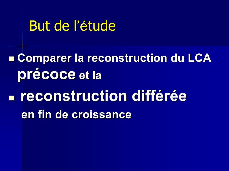 But de l é tude Comparer la reconstruction du LCA précoce et la Comparer la reconstruction du LCA précoce et la reconstruction différée reconstruction