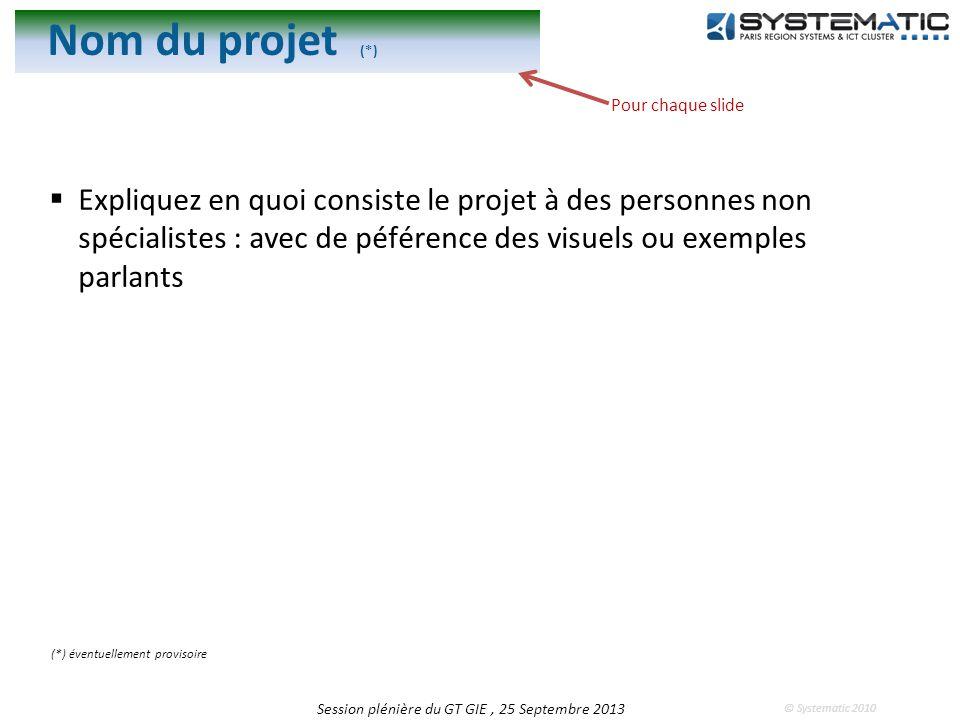 © Systematic 2010 Nom du projet (*) Expliquez en quoi consiste le projet à des personnes non spécialistes : avec de péférence des visuels ou exemples parlants Session plénière du GT GIE, 25 Septembre 2013 (*) éventuellement provisoire Pour chaque slide