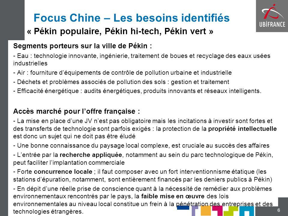 Focus Chine – Les besoins identifiés Segments porteurs sur la ville de Pékin : - Eau : technologie innovante, ingénierie, traitement de boues et recyc