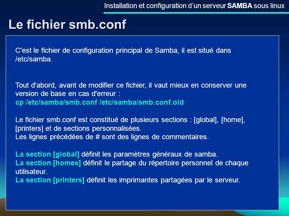 11 Le fichier smb.conf Installation et configuration dun serveur SAMBA sous linux C'est le fichier de configuration principal de Samba, il est situé d