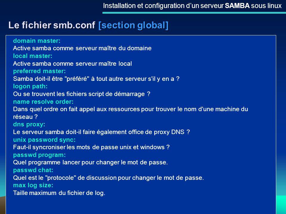 14 Le fichier smb.conf [section global] Installation et configuration dun serveur SAMBA sous linux domain master: Active samba comme serveur maître du