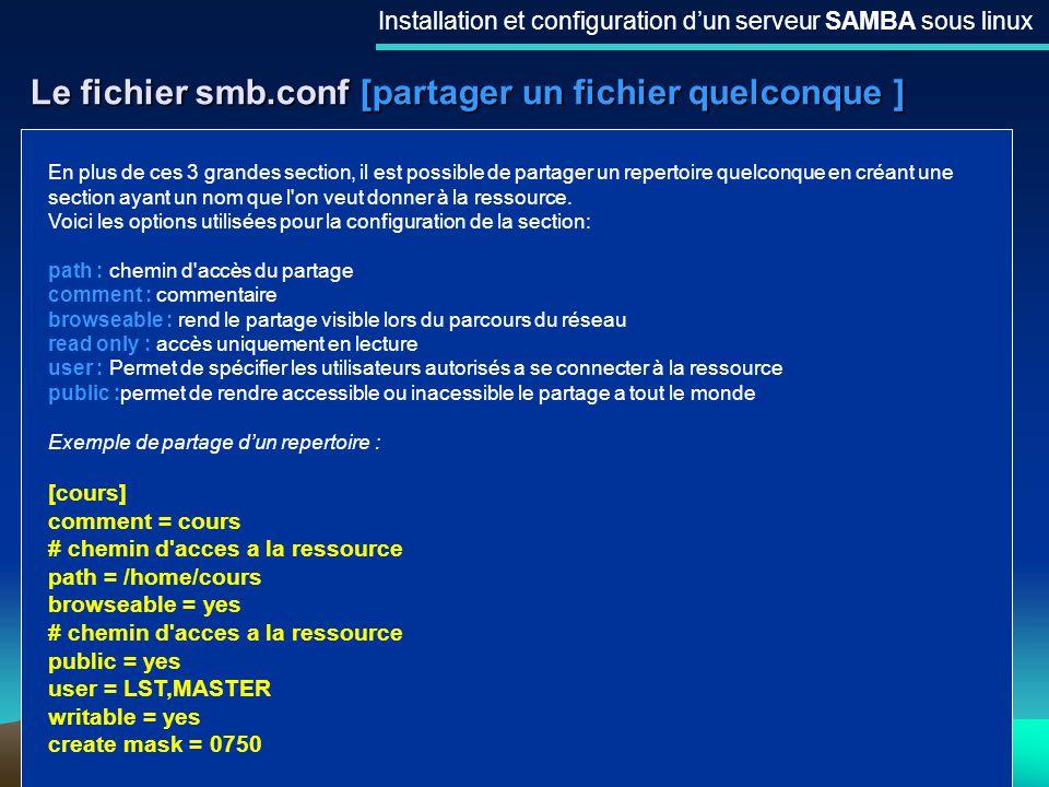 19 Le fichier smb.conf [partager un fichier quelconque ] Installation et configuration dun serveur SAMBA sous linux En plus de ces 3 grandes section,
