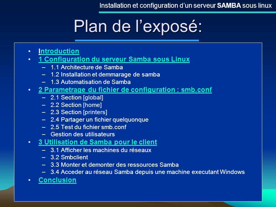 2 Plan de lexposé: Installation et configuration dun serveur SAMBA sous linux Introductionntroduction 1 Configuration du serveur Samba sous Linux –1.1