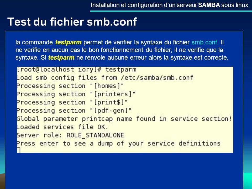 20 Test du fichier smb.conf Installation et configuration dun serveur SAMBA sous linux la commande testparm permet de verifier la syntaxe du fichier s