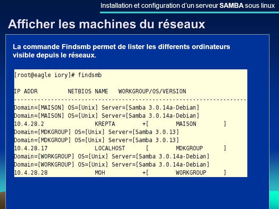 21 Afficher les machines du réseaux Installation et configuration dun serveur SAMBA sous linux La commande Findsmb permet de lister les differents ord