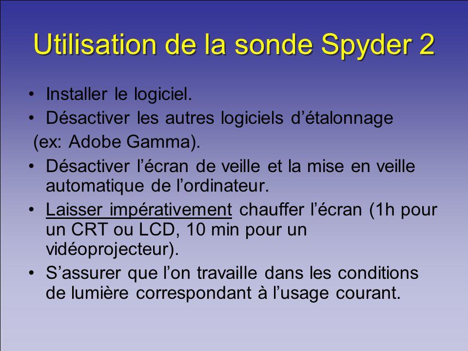 Utilisation de la sonde Spyder 2 Installer le logiciel.