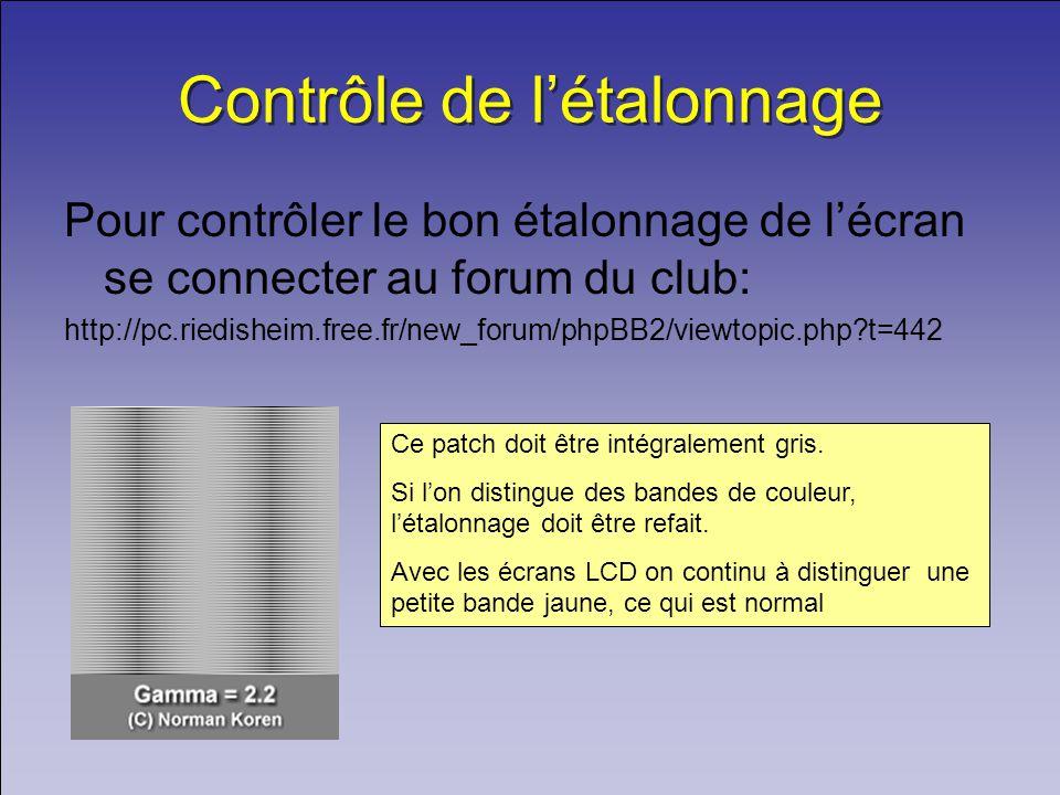 Contrôle de létalonnage Pour contrôler le bon étalonnage de lécran se connecter au forum du club: http://pc.riedisheim.free.fr/new_forum/phpBB2/viewtopic.php?t=442 Ce patch doit être intégralement gris.