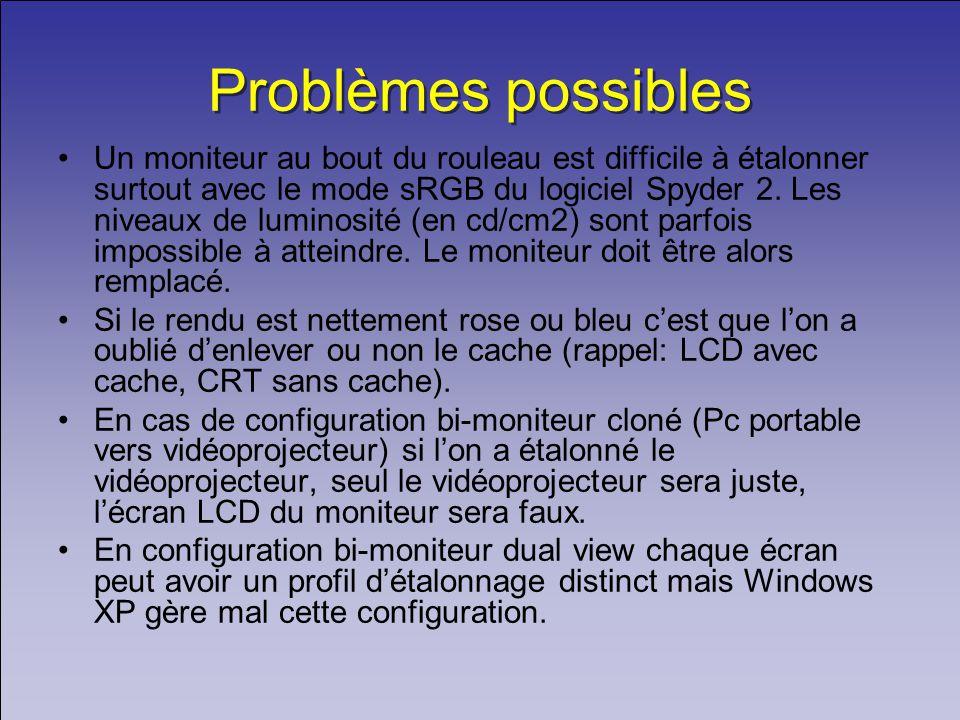 Problèmes possibles Un moniteur au bout du rouleau est difficile à étalonner surtout avec le mode sRGB du logiciel Spyder 2.