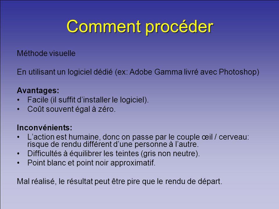 Comment procéder Méthode visuelle En utilisant un logiciel dédié (ex: Adobe Gamma livré avec Photoshop) Avantages: Facile (il suffit dinstaller le logiciel).