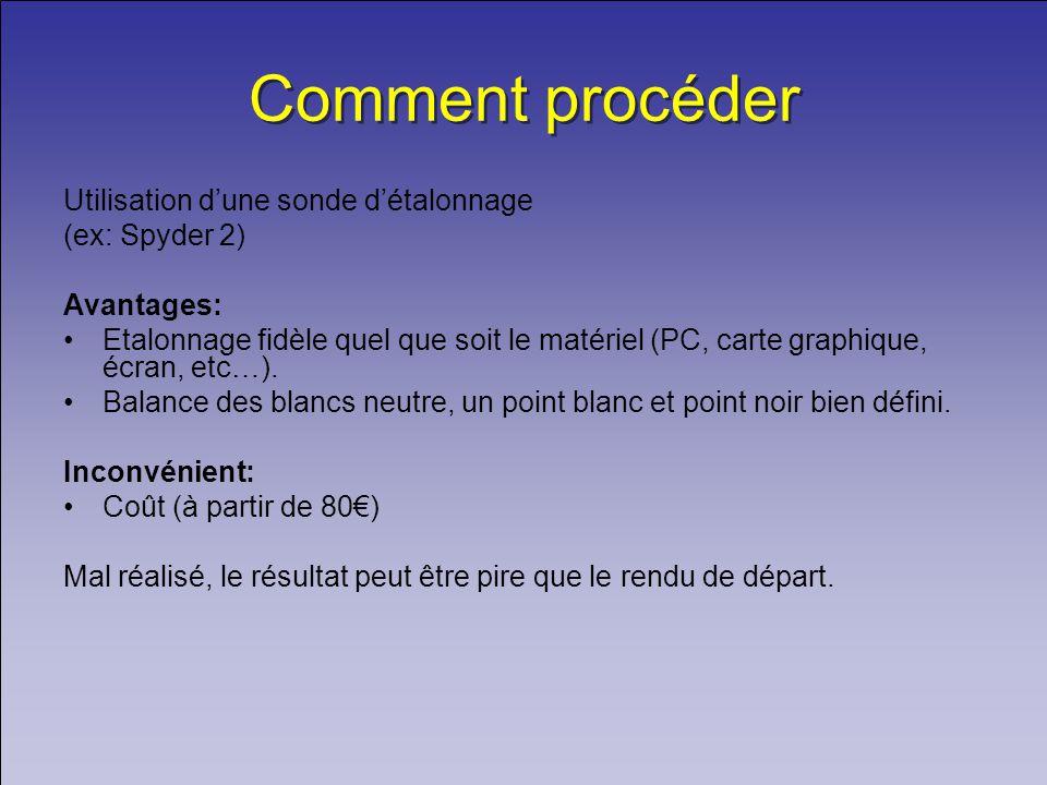 Comment procéder Utilisation dune sonde détalonnage (ex: Spyder 2) Avantages: Etalonnage fidèle quel que soit le matériel (PC, carte graphique, écran, etc…).